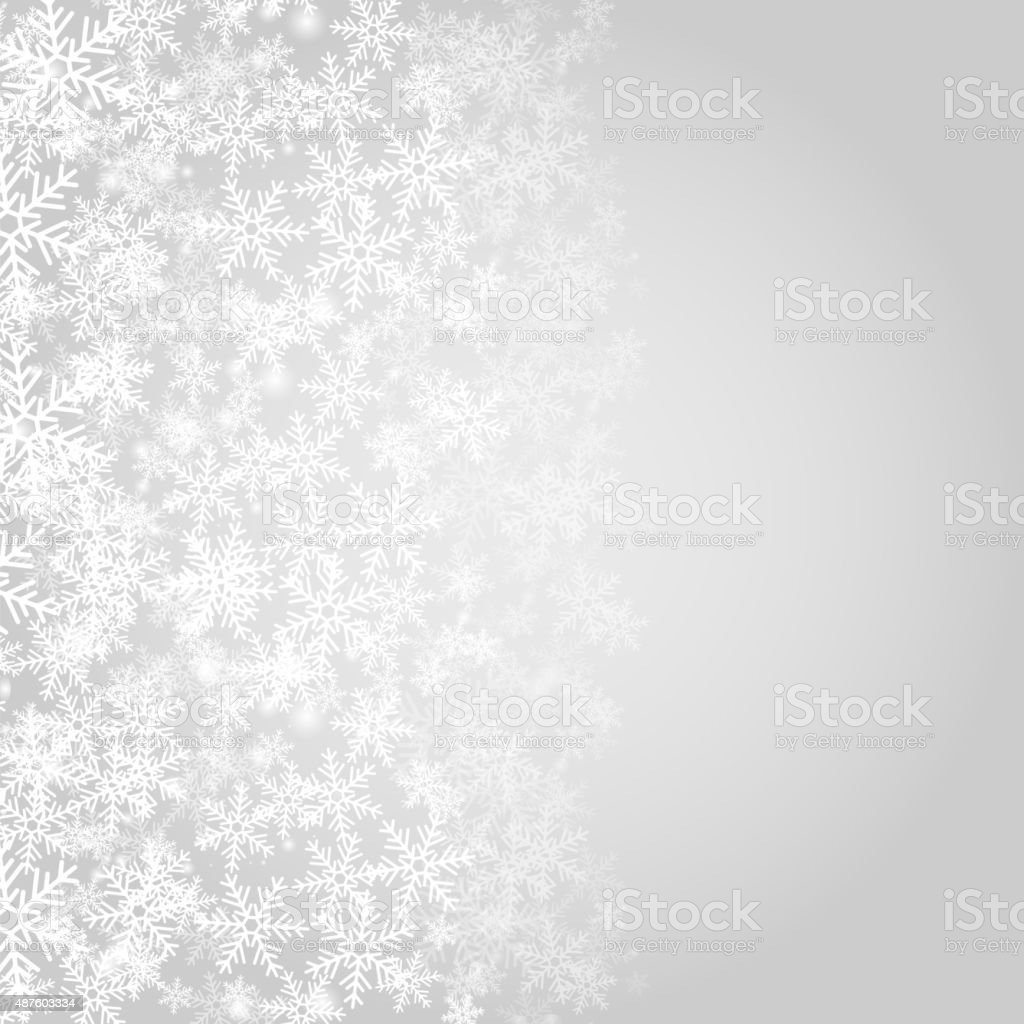 Abstract grey Christmas background with white snowflakes. vector art illustration