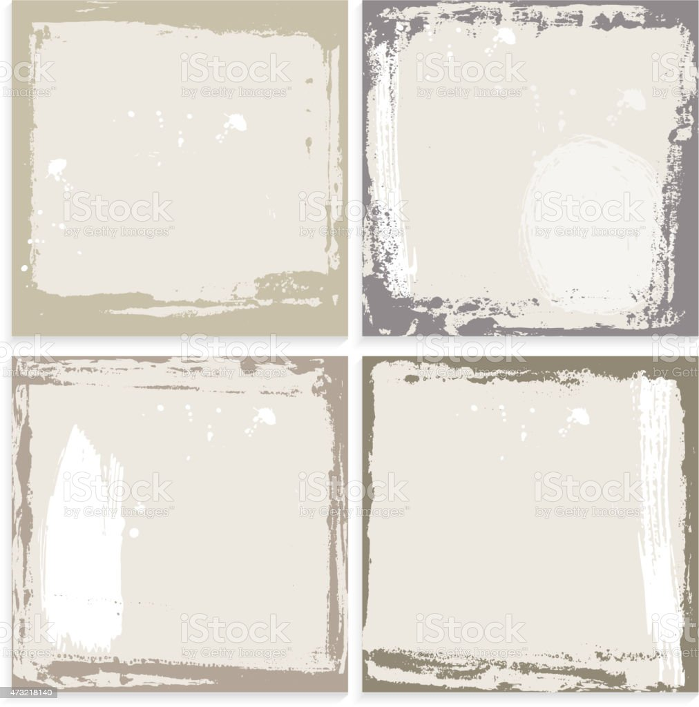 Abstract grunge frame set. brown beige and white Background template. vector art illustration