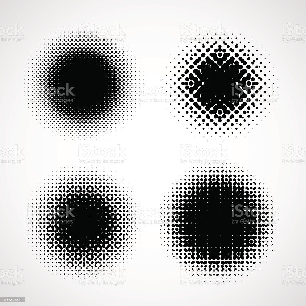Abstract Halftone Backgrounds. Vector Set of Isolated Modern Design Element vector art illustration
