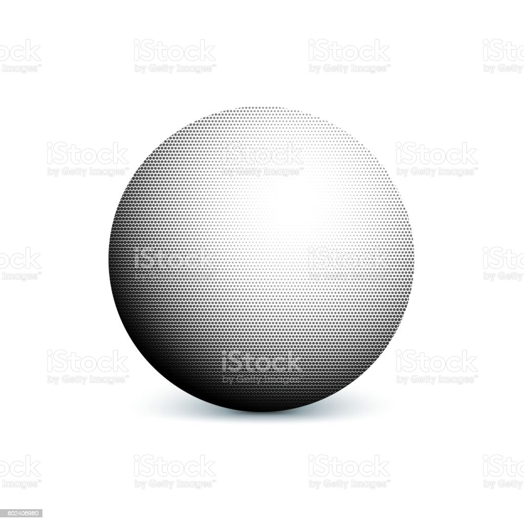 Abstract halftone, minimalist ball, circle with shadow on white background. Comic style shape, gradient halftone pop-art retro style from dots. Template for ad, covers, posters, advertising actions vector art illustration