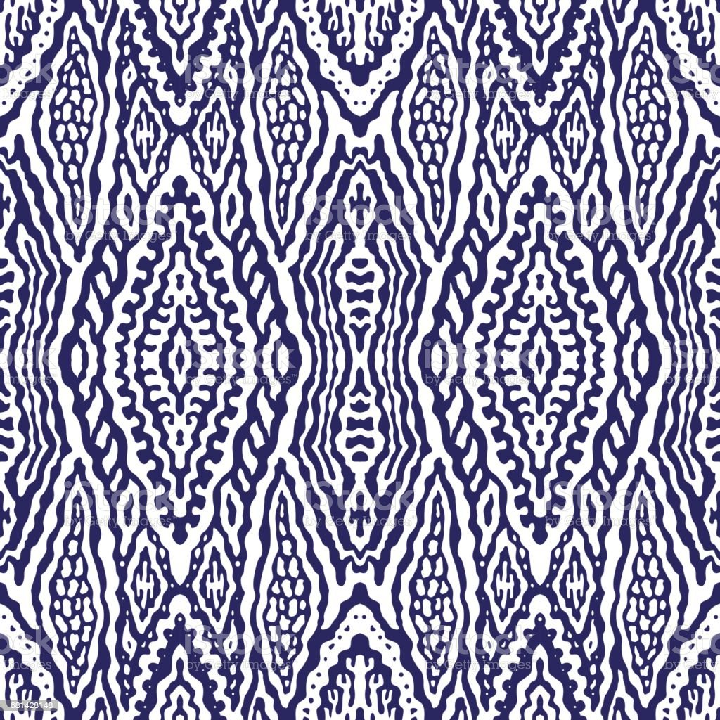 Abstract hand drawn geometrical seamless Ikat pattern from decorative ethnic ornament, Indigo blue and white background. Batik, wallpaper, wrapping paper, shibori ornament, tie dye textile print, cotton vector art illustration
