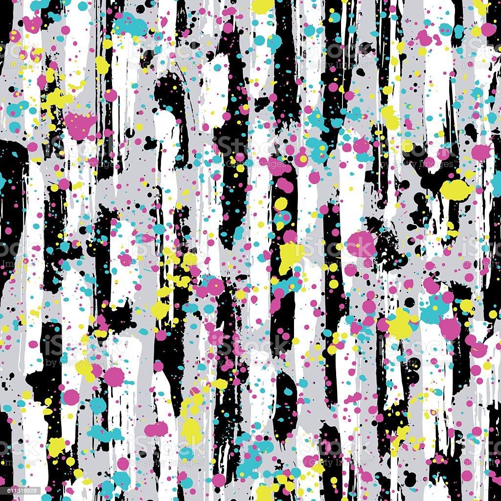 Abstract hand drawn seamless pattern, brush strokes texture vector art illustration