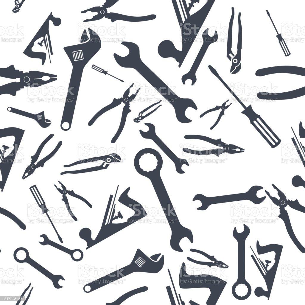 Abstract Hand tools Seamless pattern. Vector vector art illustration