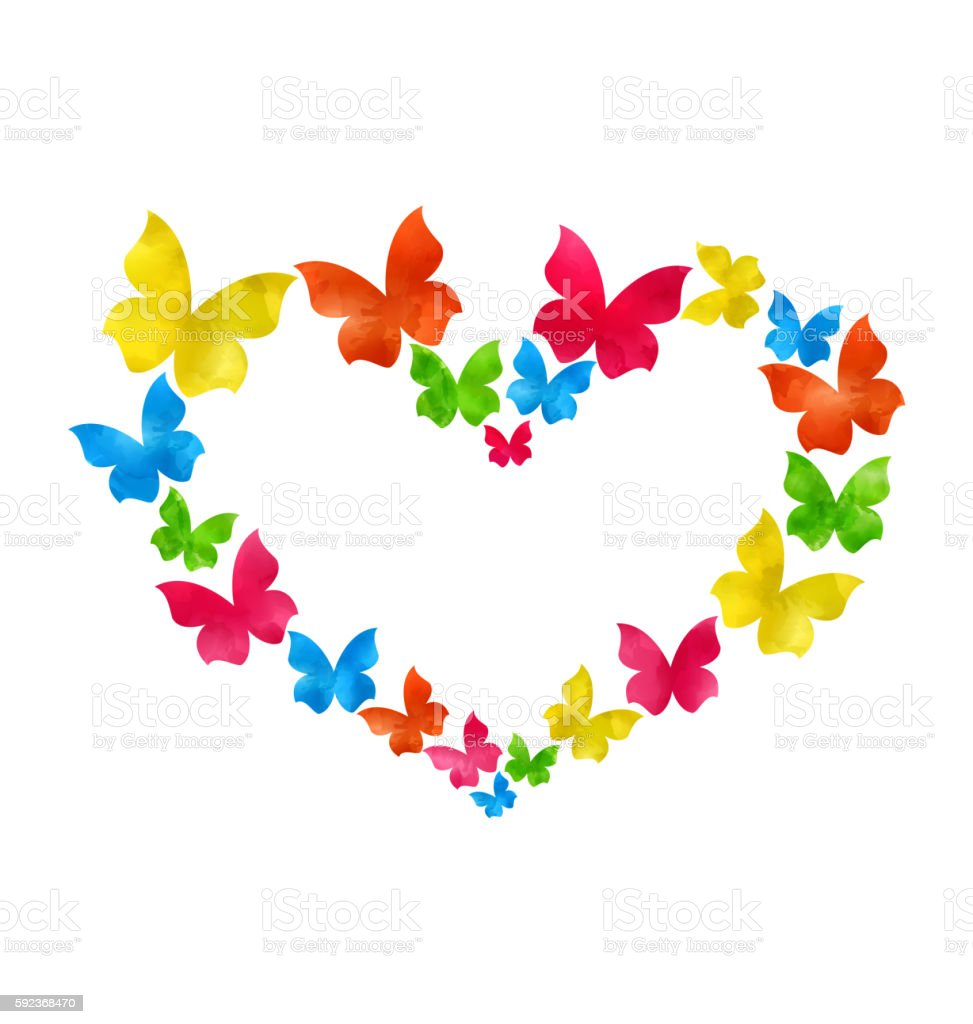 Abstract hand-drawn watercolor butterflies for Valentines Day, c vector art illustration