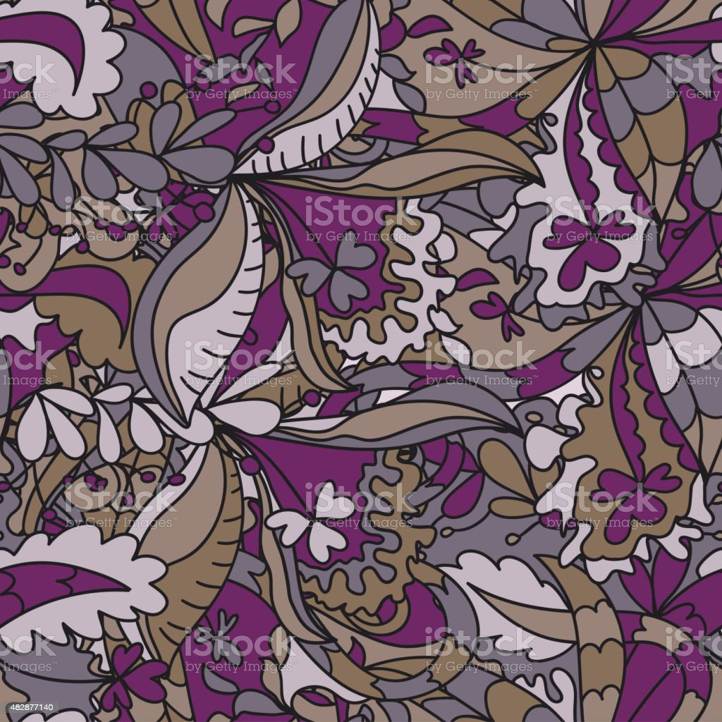 Abstract hand-drawn wave floral pattern vector art illustration