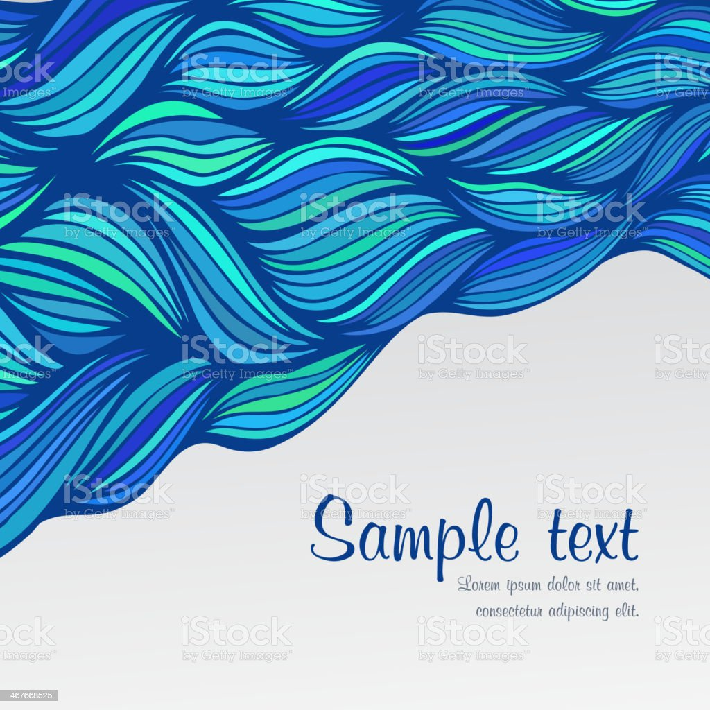 Abstract hand-drawn waves background. vector art illustration
