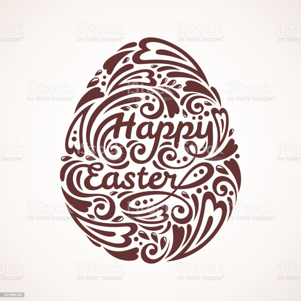 Abstract Happy Easter Lettering in Form of Egg. vector art illustration