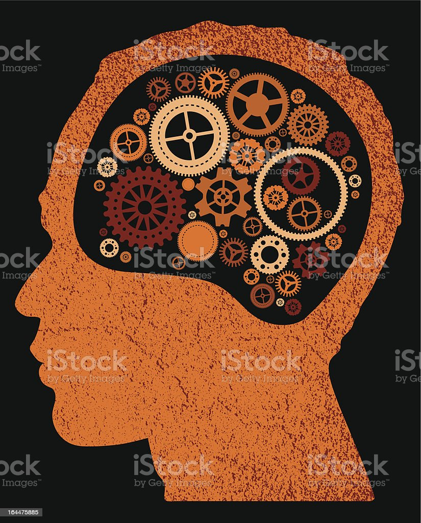 abstract head with cogs and gears. royalty-free stock vector art