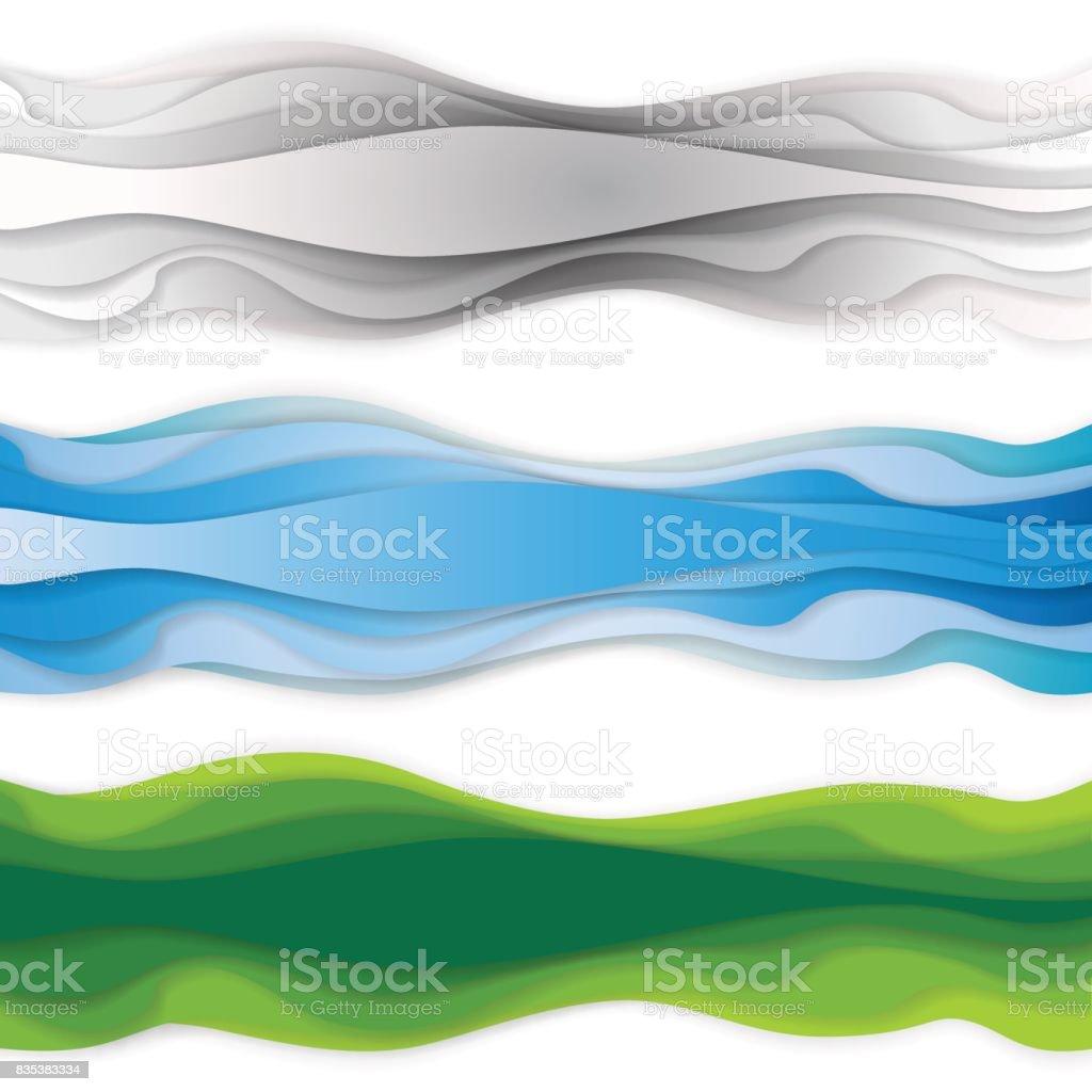 Abstract header wave background. vector art illustration