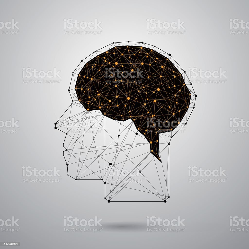 Abstract head,point and line connection. vector art illustration