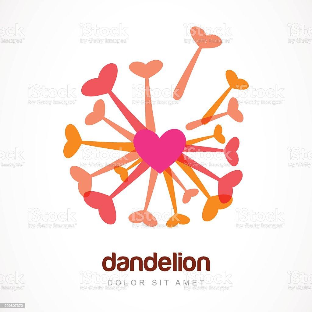 Abstract heart dandelion flower symbol. Vector logo template. vector art illustration