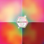 Abstract Hexagon shaped backgrounds set Pink-Yellow-Green Palette