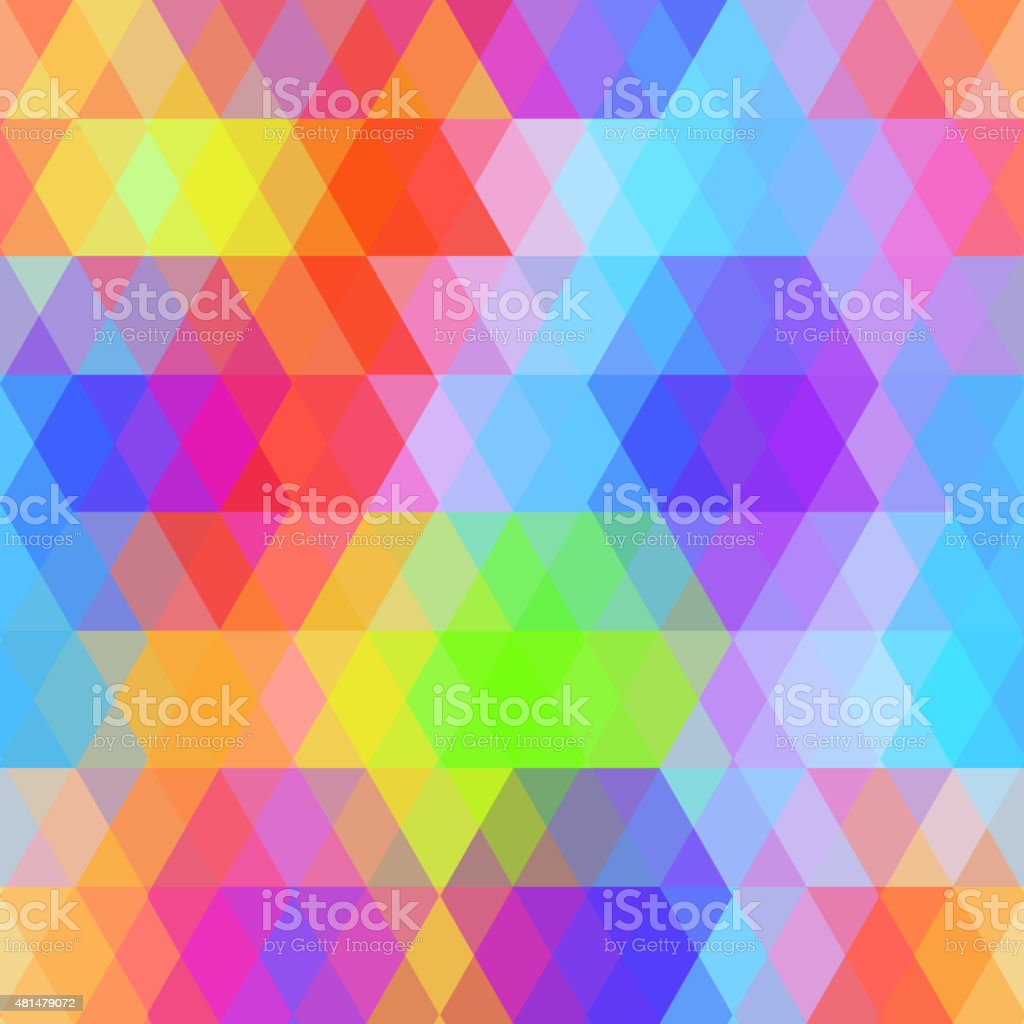Abstract hipsters seamless pattern with bright colored rhombus. rainbow color vector art illustration