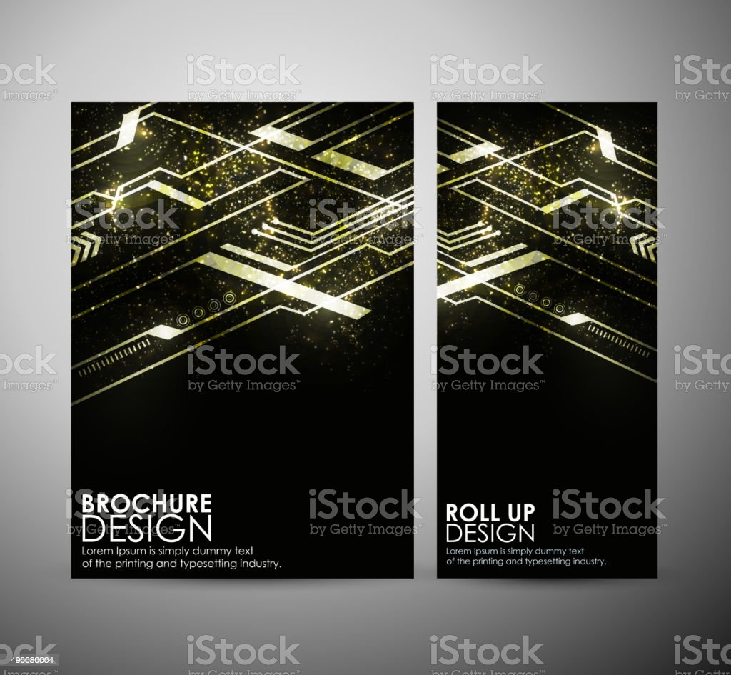 Abstract hi-tech brochure business design template or roll up. vector art illustration