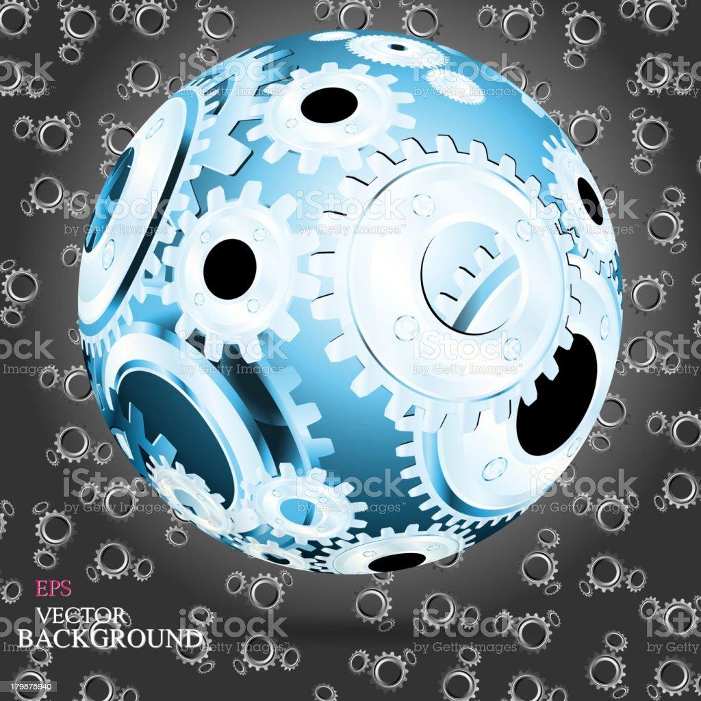 Abstract hollow sphere, cogwheel royalty-free stock vector art