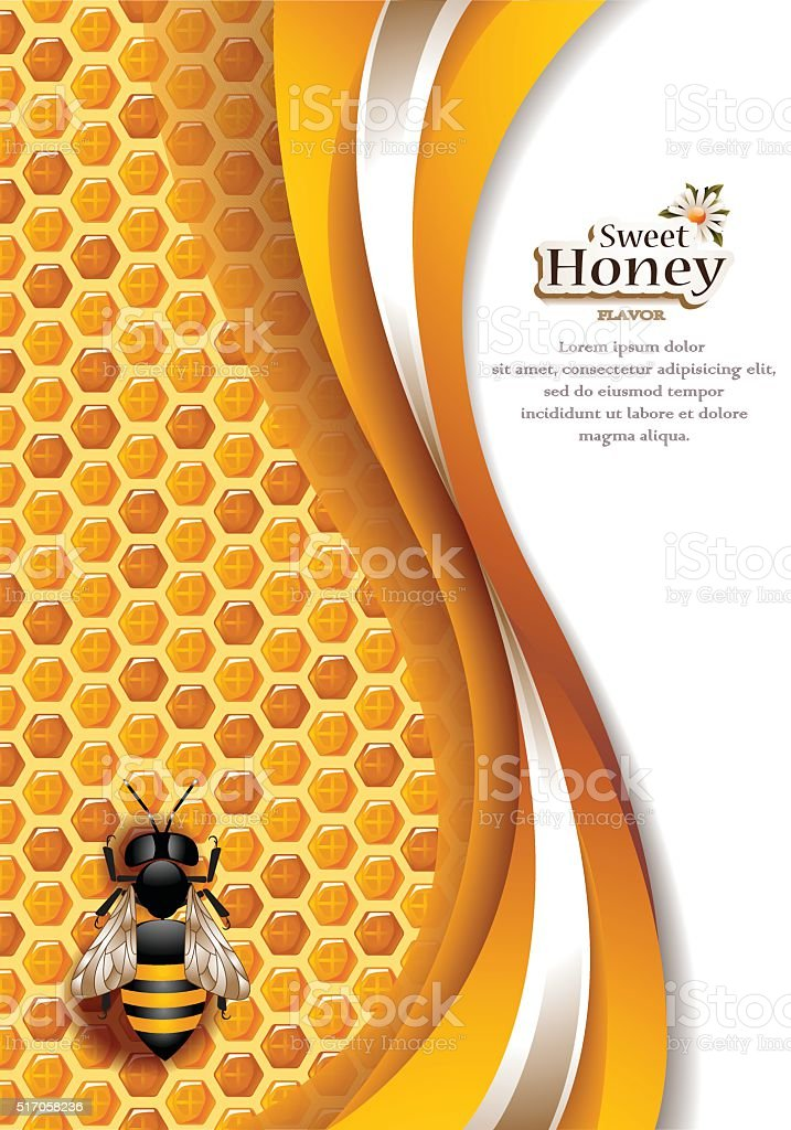 Abstract Honey Background with Working Bee vector art illustration