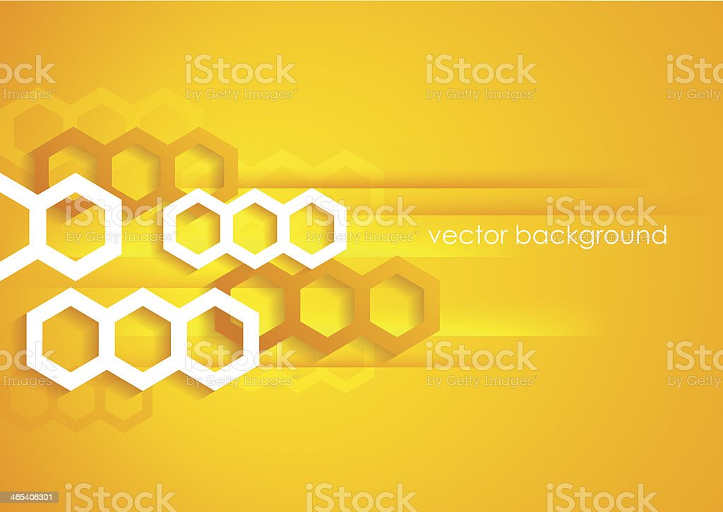 Abstract horizontal yellow and orange background with hexagons. vector art illustration