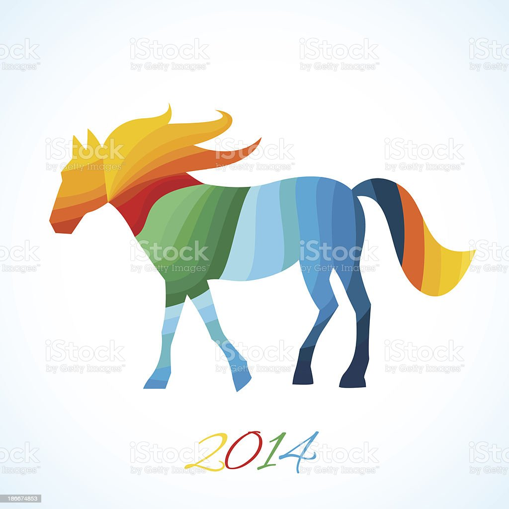 Abstract horse of geometric shapes royalty-free stock vector art