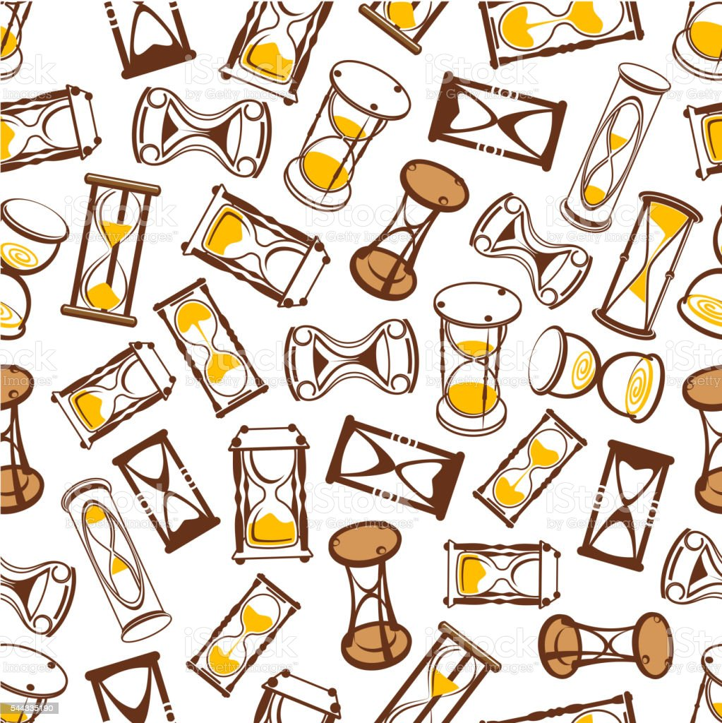 Abstract hourglasses seamless pattern background vector art illustration