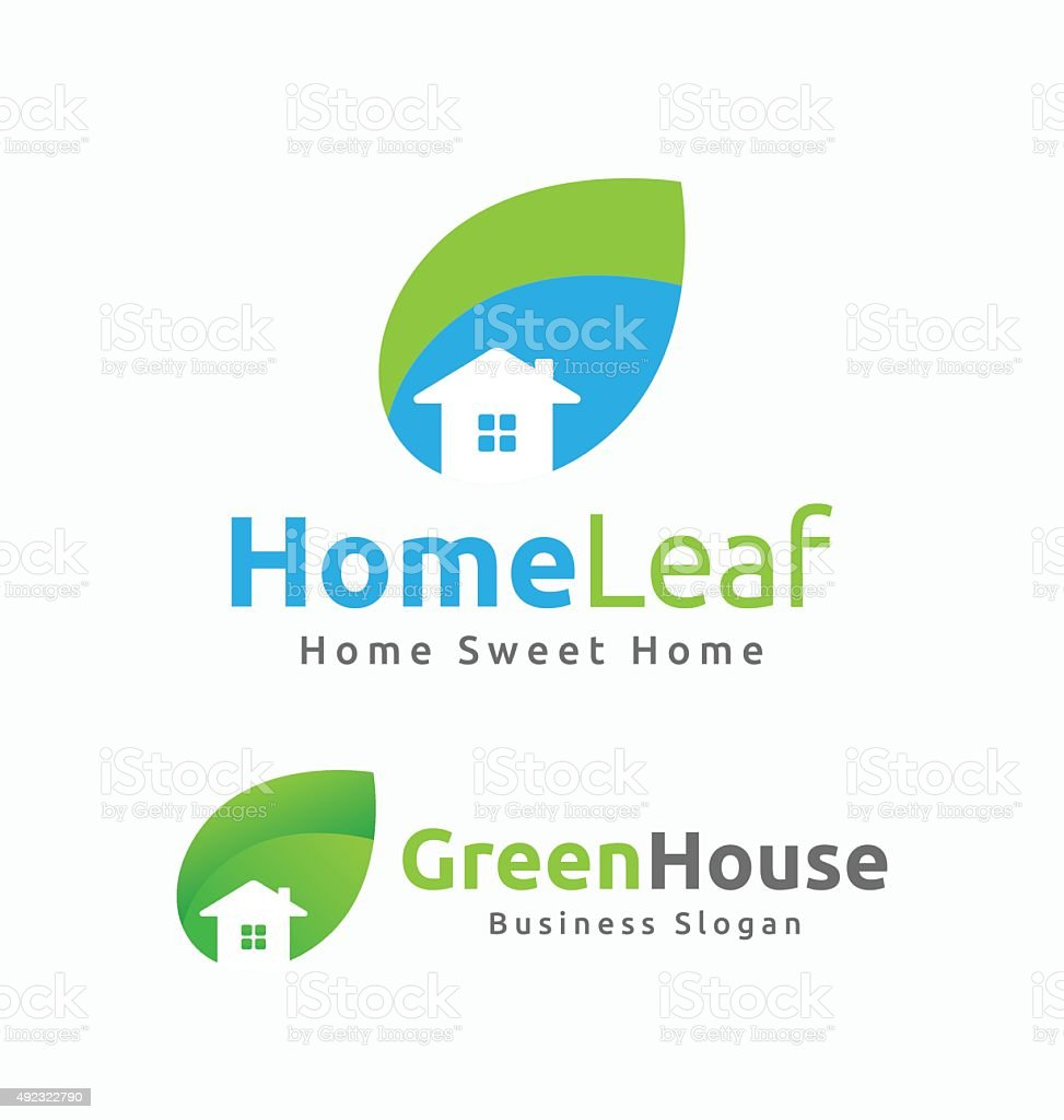 Abstract House and Leaf Logo Template Design. vector art illustration