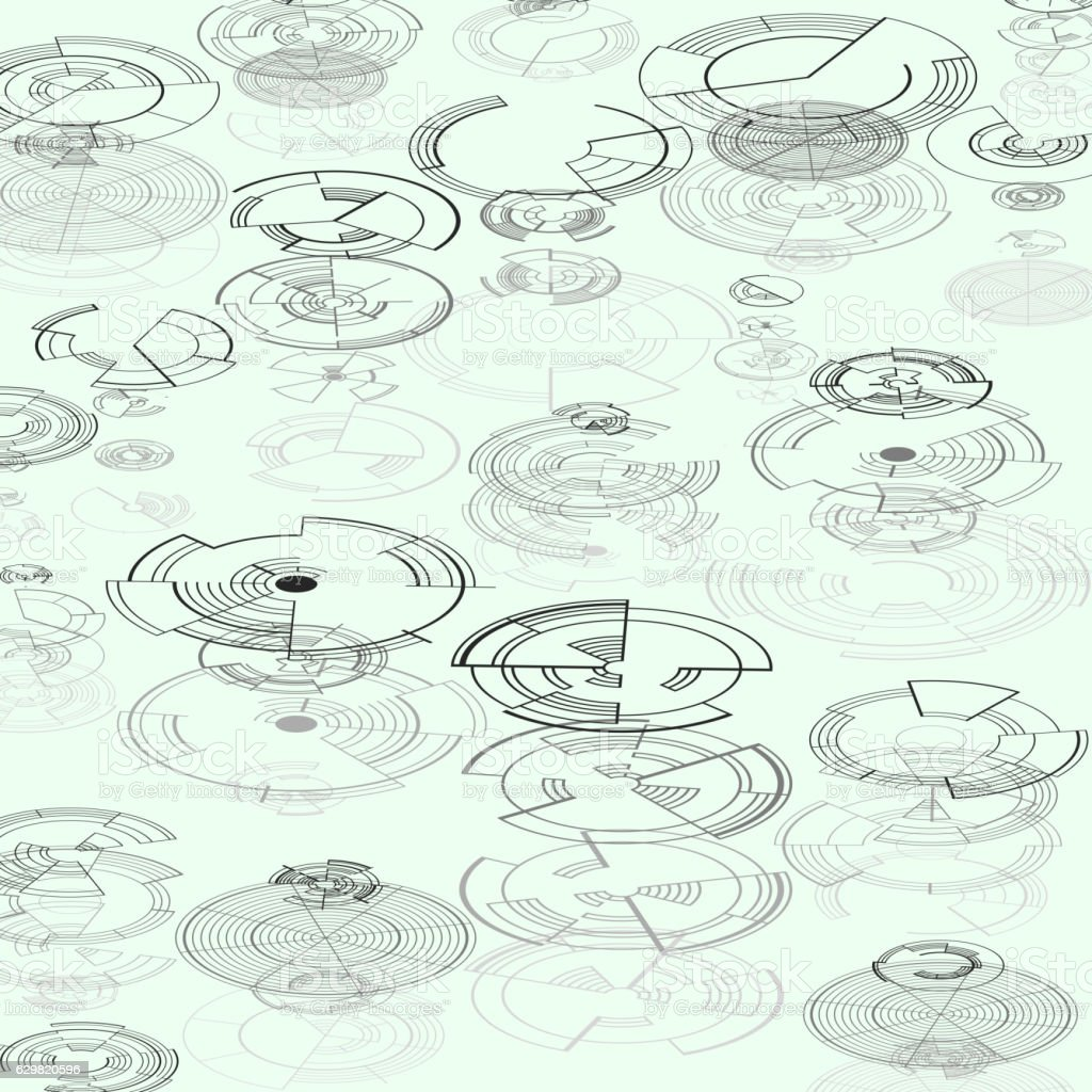 Abstract hud elements on white background. High tech design, round vector art illustration