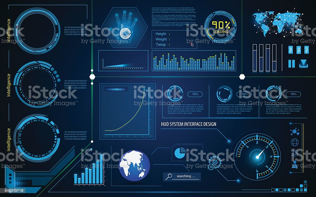 abstract hud interface intelligence technology innovation system working concept vector art illustration