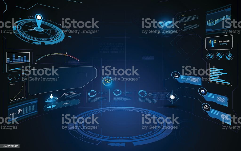 abstract hud interface ui dynamic design innovation concept template background vector art illustration