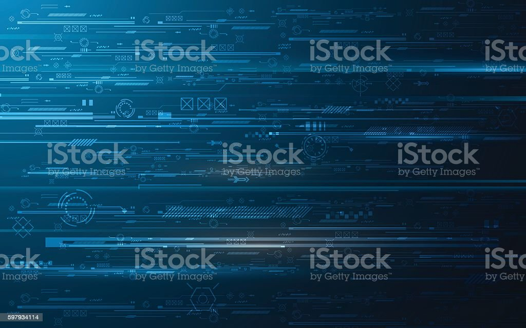abstract hud technology digits innovation concept design background vector art illustration