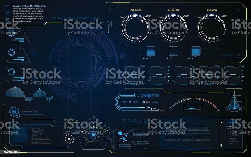 abstract HUD UI interface data diagnostics conept design template background vector art illustration