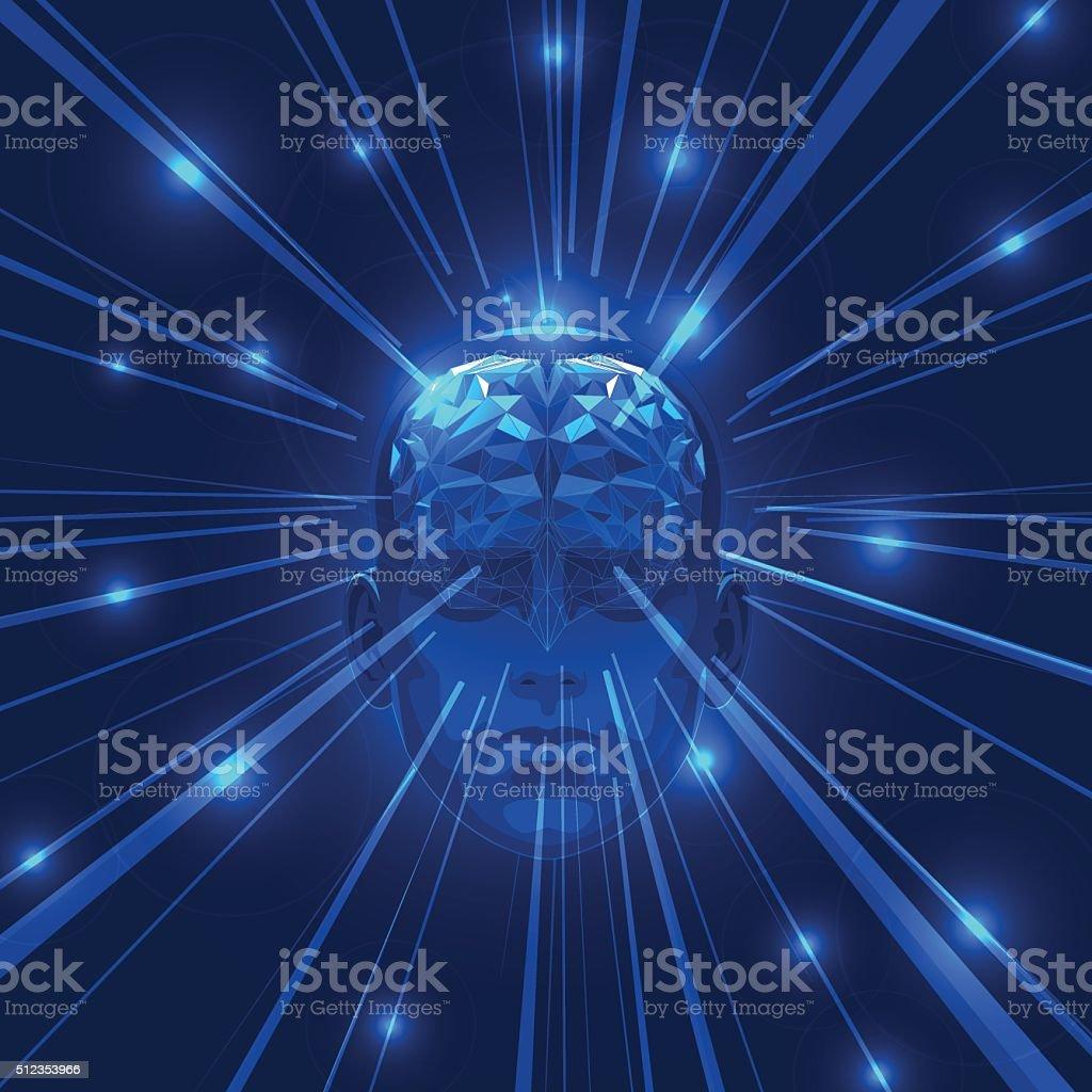 Abstract Human Head Brain with Light Rays. vector art illustration