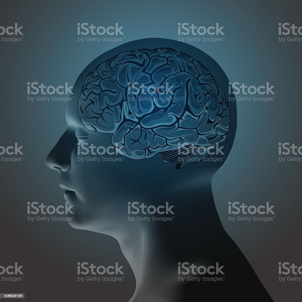 Abstract Human Head with a Brain. vector art illustration