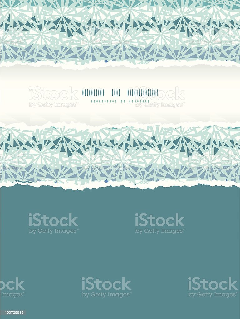 Abstract ice chrystals texture vertical torn frame seamless pattern background royalty-free stock vector art