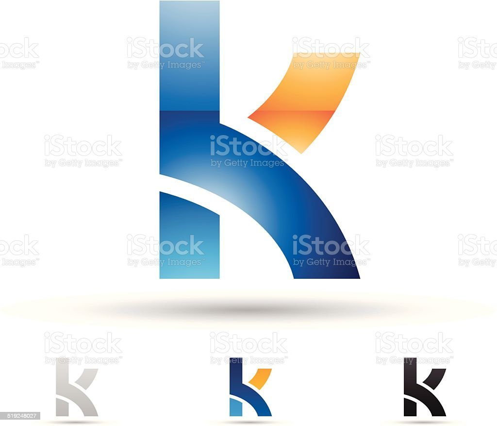 Abstract icon for letter K vector art illustration