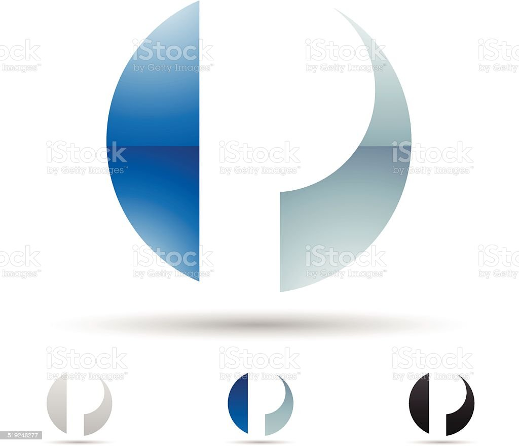 Abstract icon for letter P vector art illustration