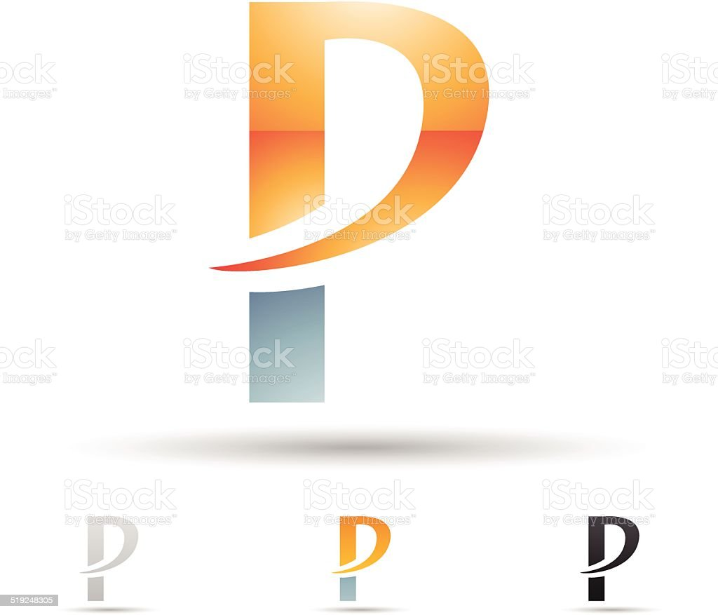 Icône abstraite pour la lettre P stock vecteur libres de droits libre de droits