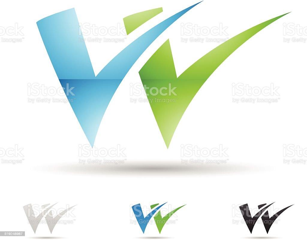 Icône abstraite pour la Lettre W stock vecteur libres de droits libre de droits