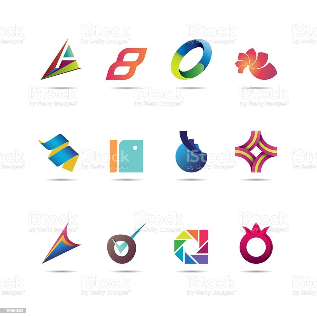 Abstract Icon Set vector art illustration