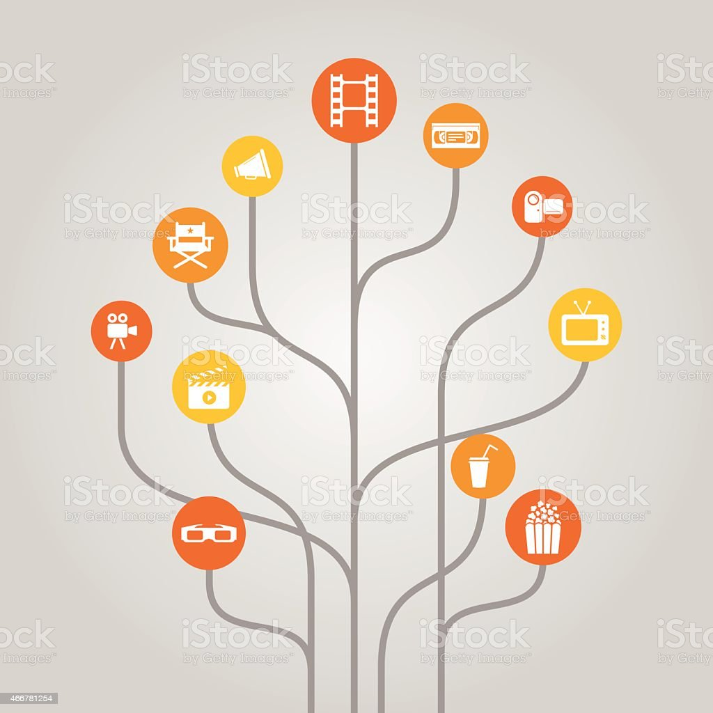 Abstract icon tree concept - cinema, movie and film industry vector art illustration