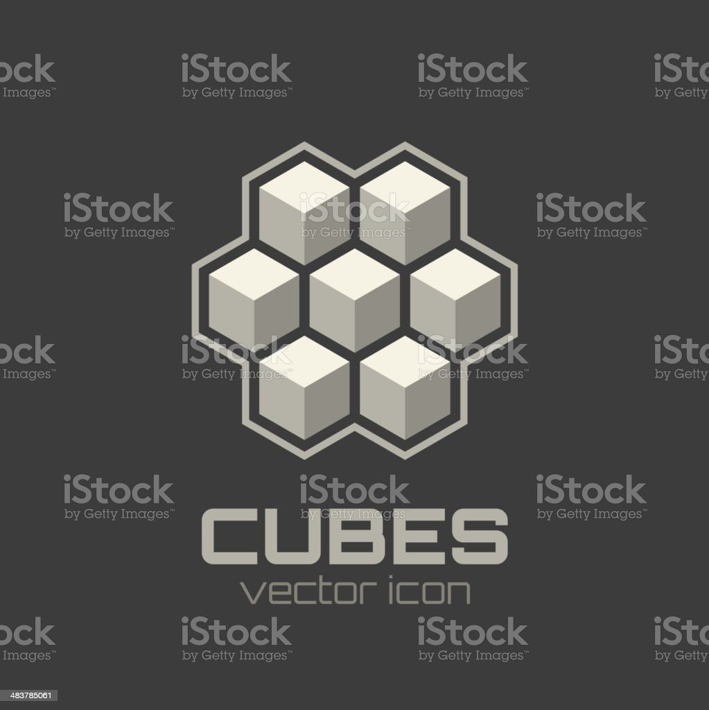 Abstract icon with 3d cubes royalty-free stock vector art