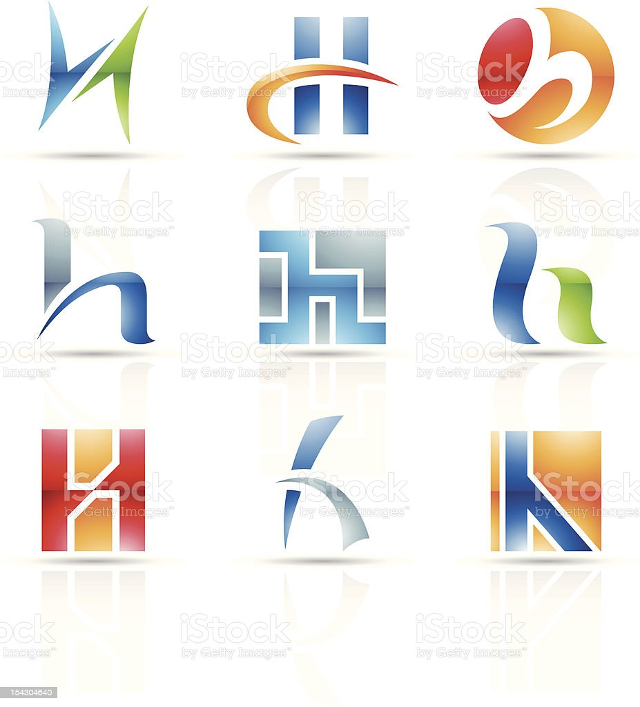 Abstract icons featuring the letter H vector art illustration