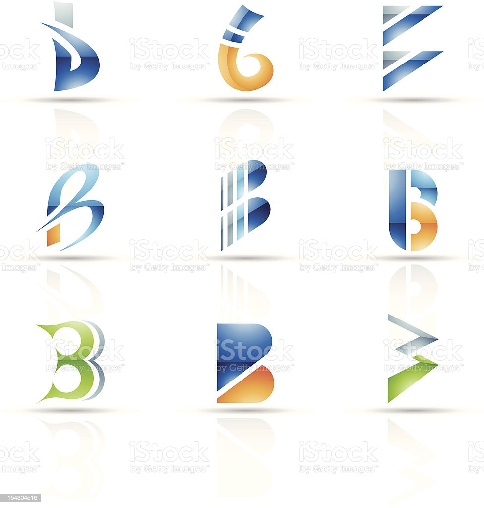 Abstract icons for letter B royalty-free stock vector art