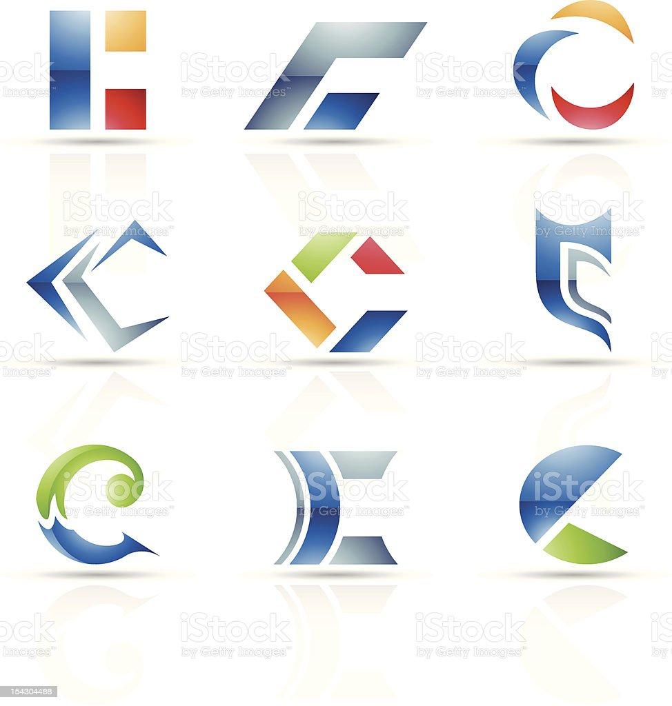 Icônes abstraites pour la Lettre C stock vecteur libres de droits libre de droits