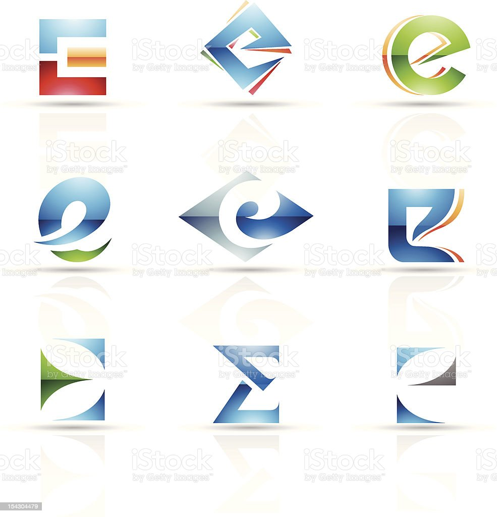 Abstract icons for letter E royalty-free stock vector art
