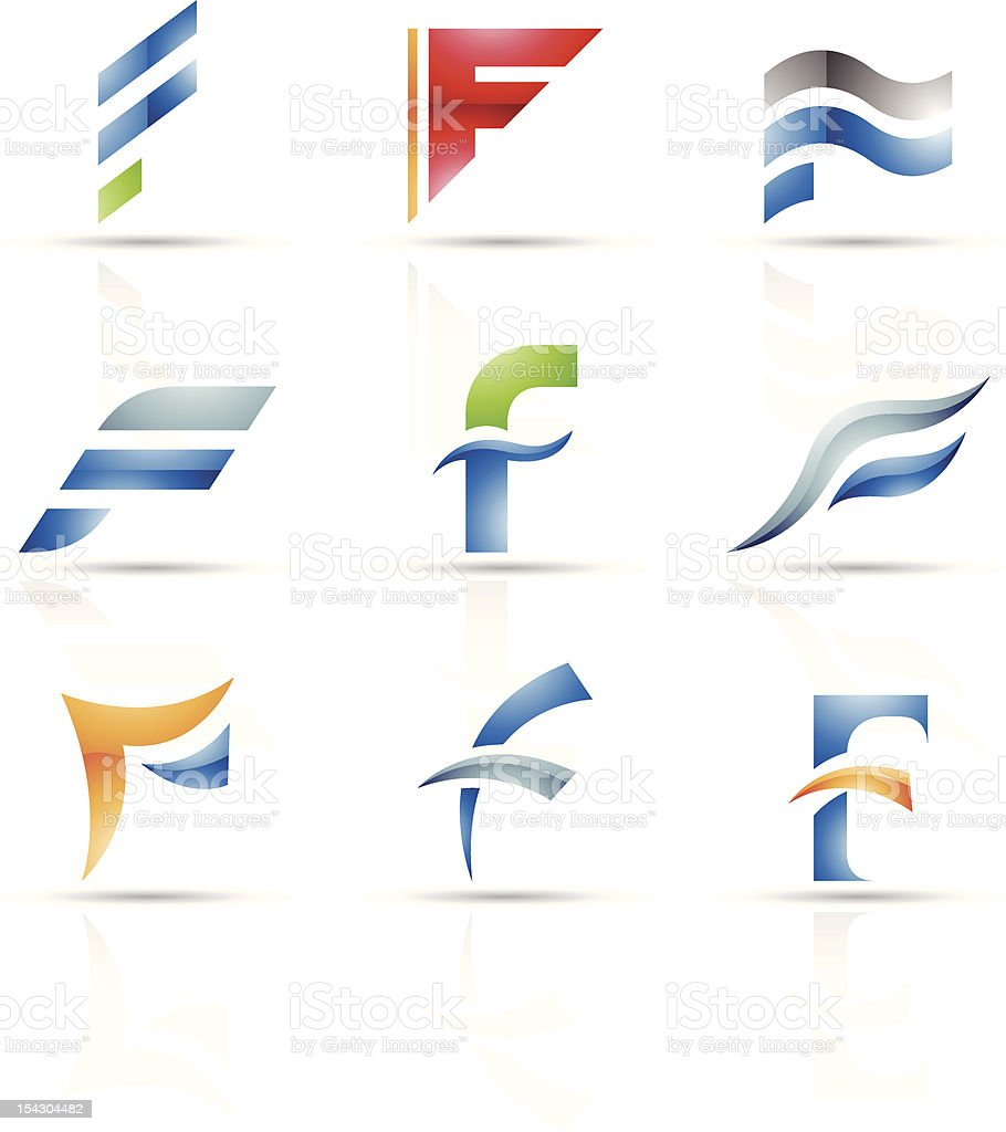 Abstract icons for letter F royalty-free stock vector art