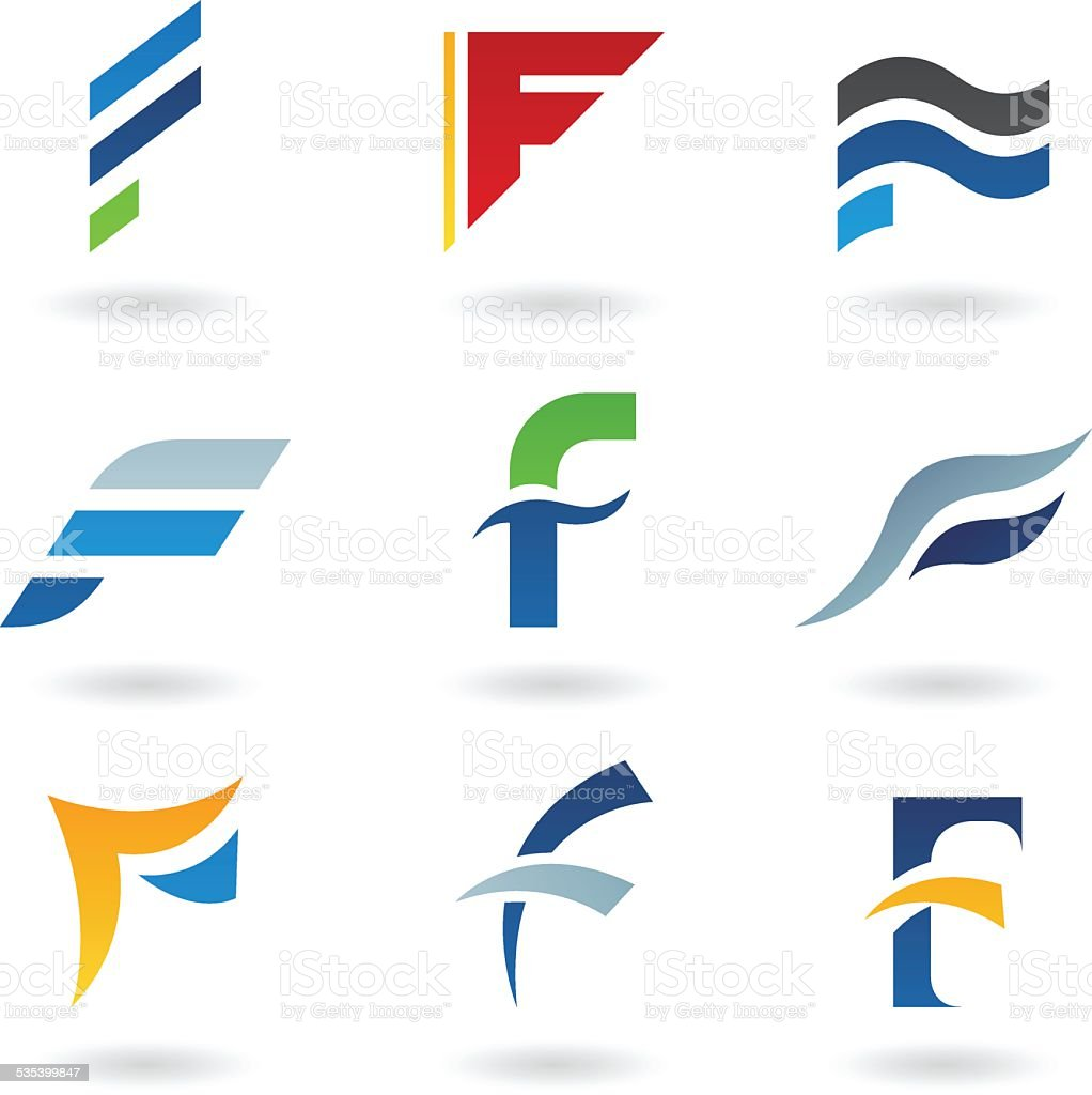 Abstract icons for letter F vector art illustration