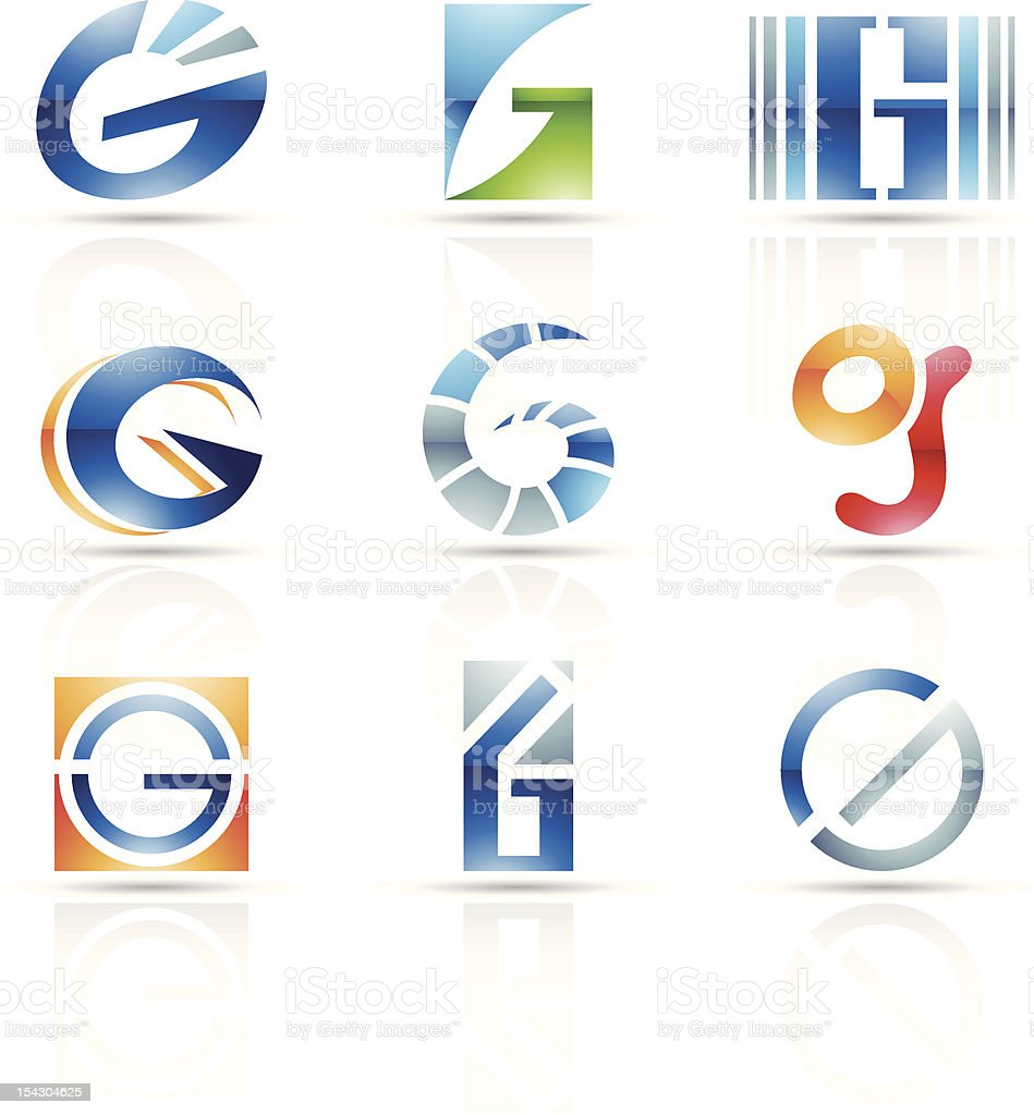 Abstract icons for letter G vector art illustration