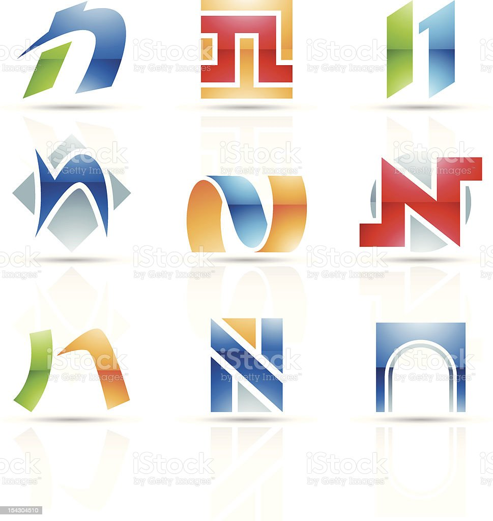 Abstract icons for letter N royalty-free stock vector art