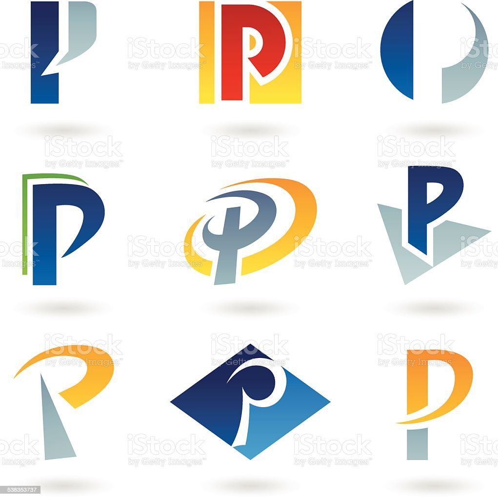 Abstract icons for letter P vector art illustration