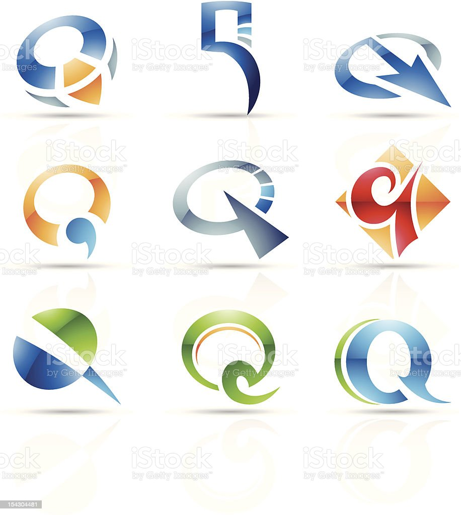Abstract icons for letter Q royalty-free stock vector art
