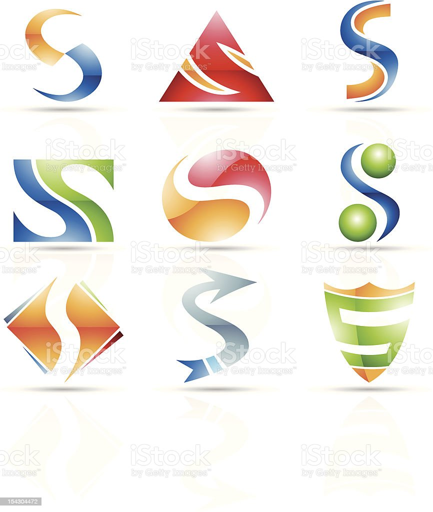 Abstract icons for letter S royalty-free stock vector art